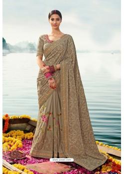 Beige Barfi Silk Embroidered Designer Saree