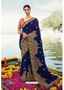 Navy Blue Barfi Silk Embroidered Designer Saree