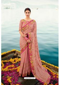 Peach Barfi Silk Embroidered Designer Saree