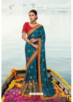 Teal Blue Barfi Silk Embroidered Designer Saree