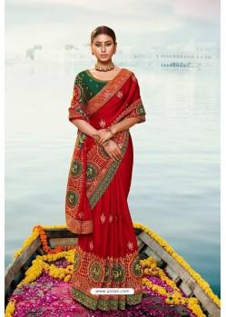 Red Barfi Silk Embroidered Designer Saree