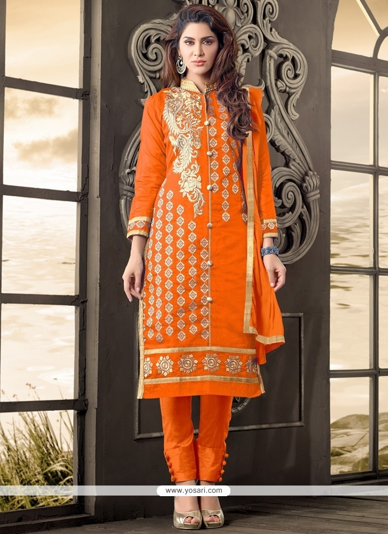 Modernistic Zari Work Cotton Designer Salwar Kameez