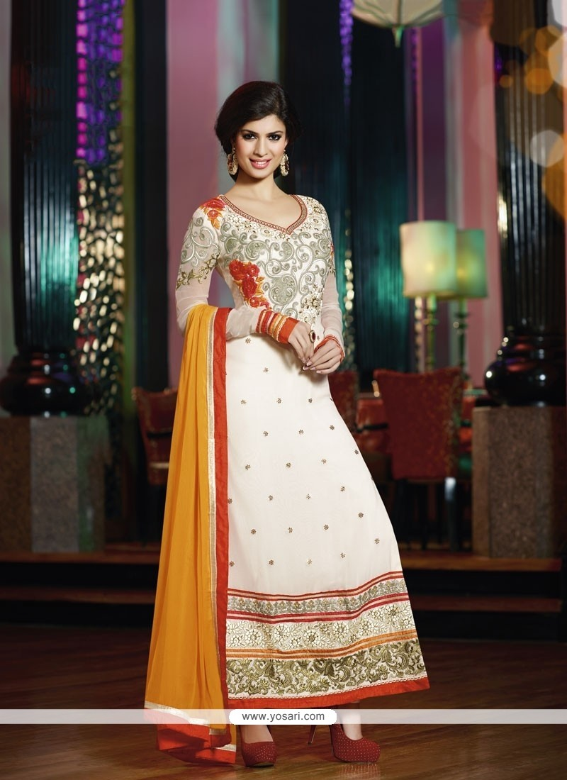 Off White Georgette Churidar Salwar Suit