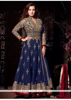 Diya Mirza Blue Resham Work Anarkali Salwar Suit