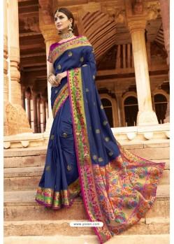 Dark Blue Soft Silk Weaving Designer Saree