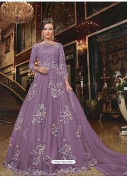 Lavender Soft Net Partywear Anarkali Suit
