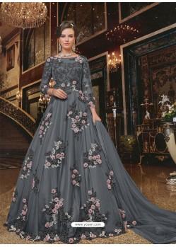 Carbon Soft Net Partywear Anarkali Suit