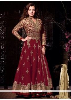 Diya Mirza Embroidered Work Net Anarkali Salwar Suit