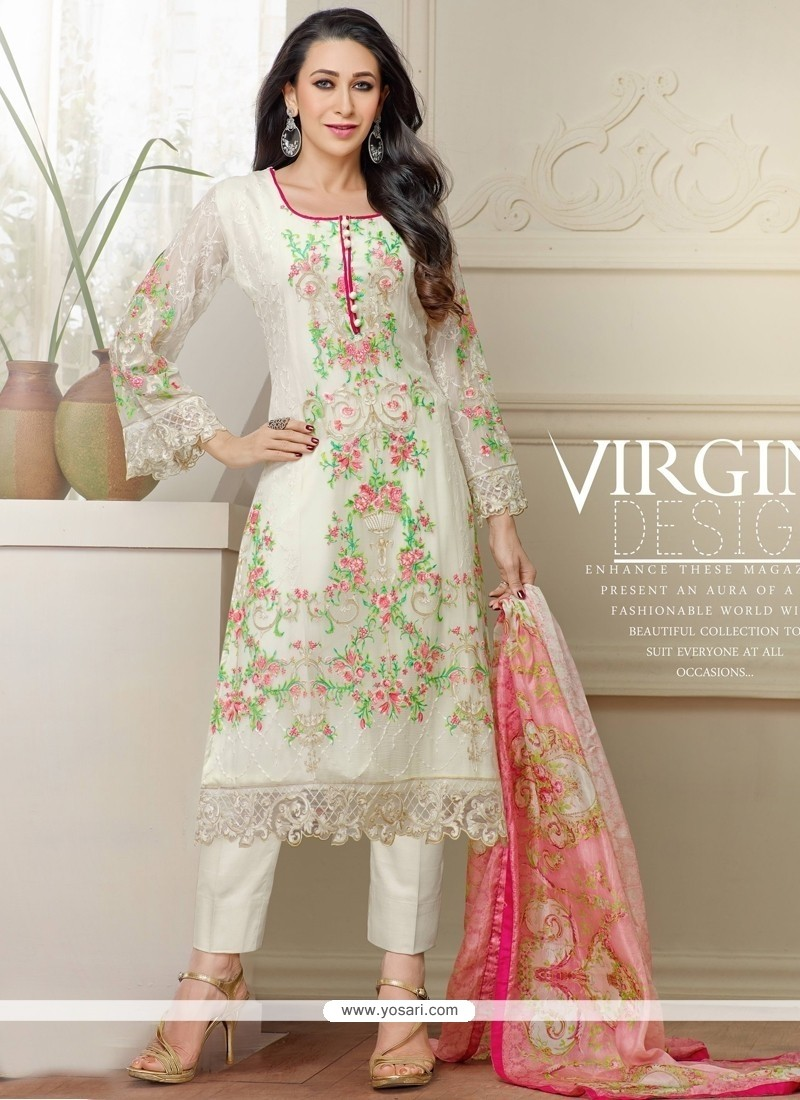 Karishma Kapoor White Embroidered Work Designer Salwar Suit