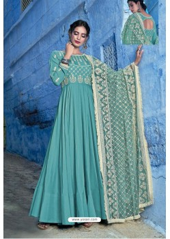 Turquoise Pure Maslin Lakhnavi Work Anarkali Suit