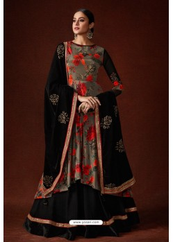 Camel And Black Top Silk Crepe Designer Anarkali Suit