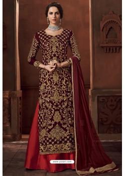 Maroon Heavy Velvet Designer Anarkali Suit