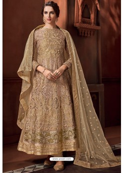 Golden Heavy Net Designer Anarkali Suit