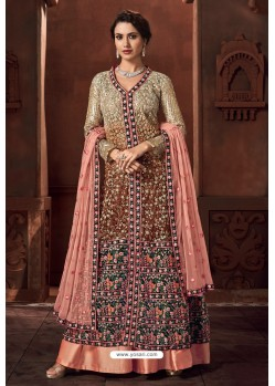 Gold And Pink Heavy Net Designer Anarkali Suit