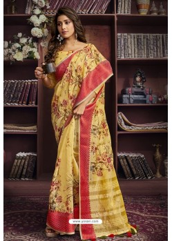 Yellow Cotton Printed Designer Saree