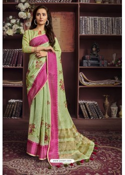 Green Cotton Printed Designer Saree