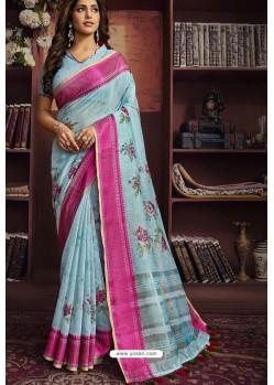 Sky Blue Cotton Printed Designer Saree
