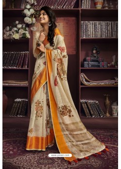 Beige And Orange Cotton Printed Designer Saree