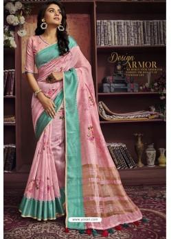 Pink Cotton Printed Designer Saree