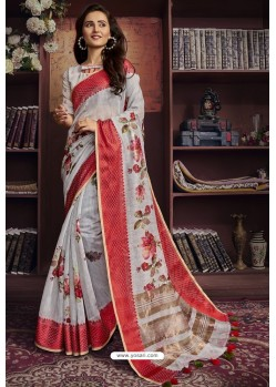 Off White And Red Cotton Printed Designer Saree