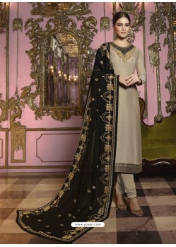 Beige And Black Georgette Satin Embroidered Churidar Suit