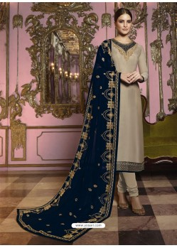 Beige And Navy Georgette Satin Embroidered Churidar Suit