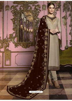Beige And Maroon Georgette Satin Embroidered Churidar Suit