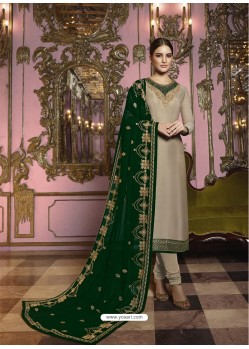 Beige And Green Georgette Satin Embroidered Churidar Suit