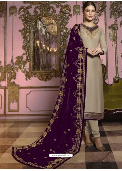 Beige And Purple Georgette Satin Embroidered Churidar Suit