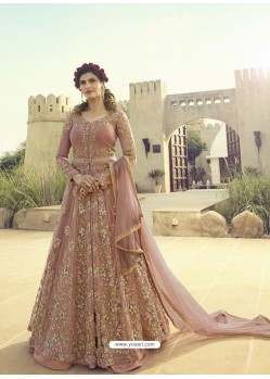 Dusty Pink Soft Net Embroidered Designer Gown
