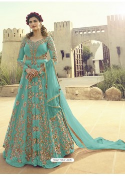 Sky Blue Soft Net Embroidered Designer Gown