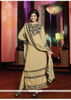 Groovy Cream Resham Georgette Churidar Suit