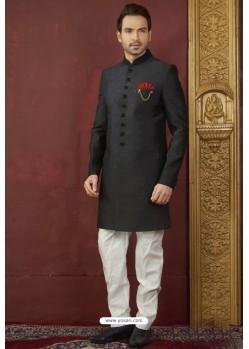 Black Import Jacquard Designer Sherwani