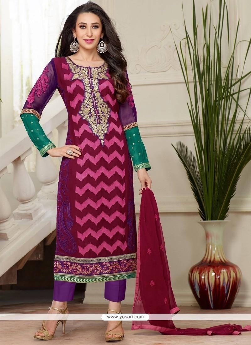Karishma Kapoor Multi Colour Georgette Designer Salwar Kameez