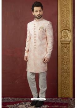 Peach Import Jacquard Designer Sherwani