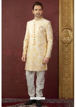 Yellow Import Jacquard Designer Sherwani