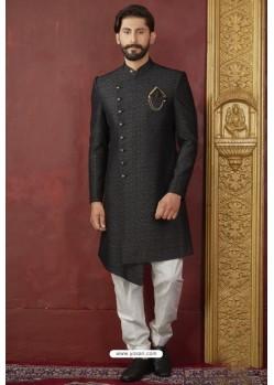 Stunning Black Import Jacquard Designer Sherwani