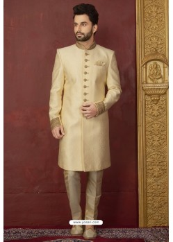 Cream Jacquard Silk Brocade Readymade Sherwani