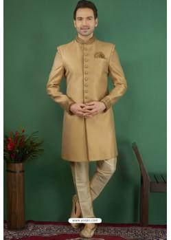 Golden Jacquard Silk Brocade Readymade Sherwani