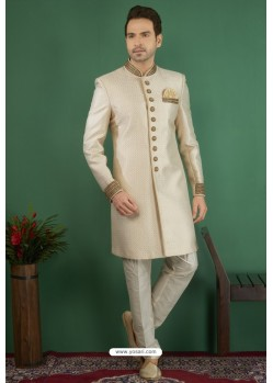 Lovely Cream Jacquard Silk Brocade Readymade Sherwani