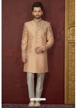 Stylish Peach Art Banarasi Silk Readymade Sherwani