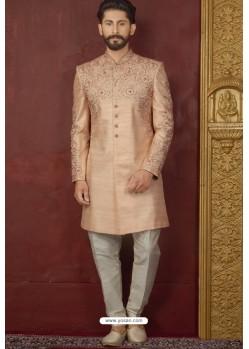 Peach Art Banarasi Silk Readymade Sherwani