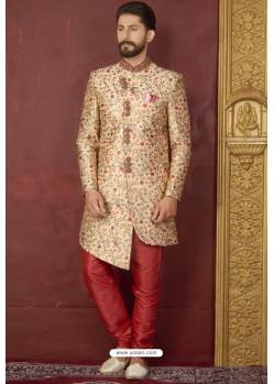Amazing Beige Art Banarasi Silk Readymade Sherwani
