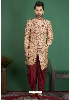 Classy Beige Art Banarasi Silk Readymade Sherwani