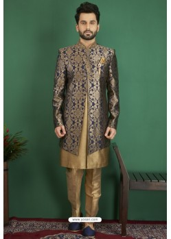 Golden And Navy Jacquard Silk Brocade Readymade Sherwani