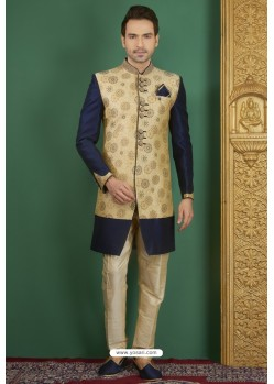 Navy And Gold Jacquard Silk Brocade Readymade Sherwani