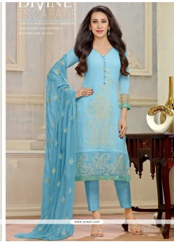 Karishma Kapoor Resham Work Blue Salwar Suit