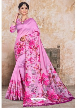 Light Pink Zoya Art Silk Digital Printed Saree