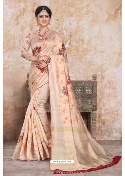 Light Beige Zoya Art Silk Digital Printed Saree