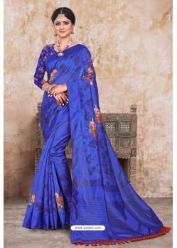 Royal Blue Zoya Art Silk Digital Printed Saree